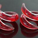 Painful Pleasures P307-pair 2g-0g-00g Twister RED Transliquid Glass Jewelry - Price Per 2