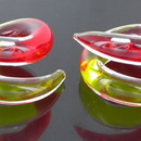 Painful Pleasures P308-pair 2g-0g-00g Twister Yellow/Red Transliquid Glass Jewelry - Price Per 2