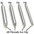 Painful Pleasures RES103-8g-barbell-shaft 8g Replacement Straight Externally Threaded Barbell Shaft