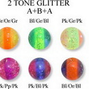 Painful Pleasures RES185 14G - 12G - 10G THREADED 2 TONE GLITTER BALLS