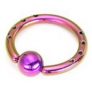 Painful Pleasures UR020-12g 12g Industrial Captive Bead Ring with Drilled Holes