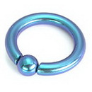 Painful Pleasures UR221-8g 8g Titanium Captive Bead Ring with Snap Fit Ball