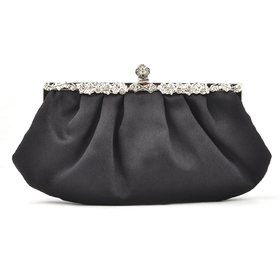 Black Evening Handbag, Simple Style Satin Clutch, Gift Idea