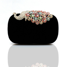 Crystal Peacock Decorated Fashion Hand Case - Black