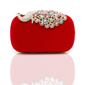 Crystal Peacock Decorated Fashion Hand Case - Red