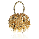 TopTie Dazzling Sequined Evening Bag, Faux Pearl Handle Chain