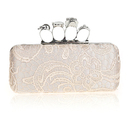 TopTie Hollow-out Lace Floral Handbag, Skull Rings Evening Clutch