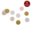 Aspire Pack of 6 Glitter Twinkle Paper Garland, 6.6ft / 2m Sparkling Paper Banner, Star Circle Heart Hanging Decoration Party Supplies