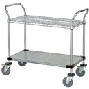 Quantum WRC-2448-2CG Wire & Solid Shelf Mobile Utility Carts (Outside Dimensions: 48