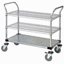 Quantum WRC-2448-3CG Wire & Solid Shelf Mobile Utility Carts (Outside Dimensions: 48