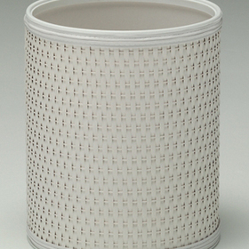 Redmon Budget Series White Round Wicker Wastebasket, White