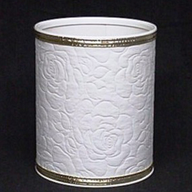 Redmon Traditional Times Quilted Vinyl Wastebasket, White/Silver