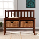 SEI BC9418 Bench w/ Storage Baskets - Espresso Finish