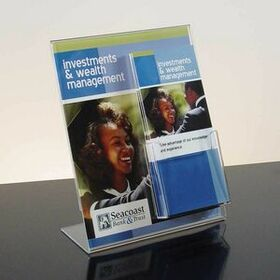 Clear Acrylic Slant-Back Sign Holder W/Brochure Pocket (8 1/2w x 11), Price/piece