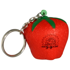 "Strawberry Key Chain/Stress Toy, 1 3/4"" Diameter X 1 3/4"" Diameter, Price/piece"
