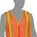 Custom Orange Mesh Safety Vest w/ Yellow Stripes