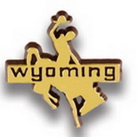 Wyoming Bronco Stock State Design Plastic Lapel Pin, Price/piece