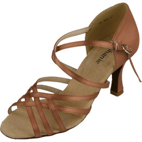 Stephanie Dark Tan Satin Dance Shoes - 12032-65
