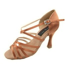 Go Go Dance Elite E201, Dark Tan Satin Dance Shoes