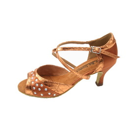 "Go Go Dance 2.5"" Dark Tan / Foil Copper Leather Dance Shoes - GO9740"