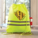 210D Neon Polyester Reflective Drawstring Backpack