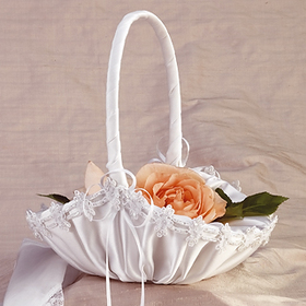 Simply Charming FGB837 Basket, Satin Flower Floral Trim