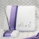 Simply Charming GB707P Purple Ribbons Guest Book with Initials