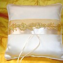 Simply Charming RP454 Embroidered French Lace Ring Pillow w/ Rhinestones