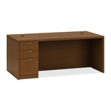 "HON Valido 11500 Series Rectangular Top Left Pedestal Desk, 72"" Width x 36"" Depth x 29.5"" Height - Single Pedestal on Left Side - Particleboard, Wood - Cherry Top, Price/EA"