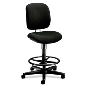 "HON HON5905AB10T HON ComforTask 5905 Pneumatic Task stool, Black - Olefin Black Seat - Back - Steel Black Frame - 26.8"" x 30"" x 49.8"" Overall Dimension, Price/EA"