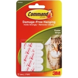 Command 11965110 Adhesive Poster Strip, Removable - 12 / Pack - White, Price/PK