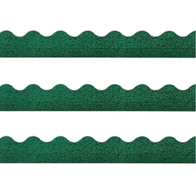 "Trend Terrific Trimmers Sparkle Trimmer, Rectangle Topped With Waves - 2.25"" x 32.5"" - Paper - Green, Price/EA"