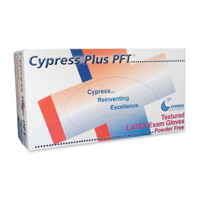 Unimed-Midwest Cypress Plus Powder Free Textured Latex Examination Gloves, Small Size - Powder-free, Textured - Latex - 100 / Box, Price/BX