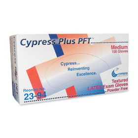 Unimed-Midwest Cypress Plus Powder Free Textured Latex Examination Gloves, Medium Size - Powder-free, Textured - Latex - 100 / Box, Price/BX