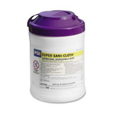 "Unimed-Midwest Germicidal Sani Cloth Wipe, 160 Wipe - 6"" x 6.75"" - White, Price/EA"