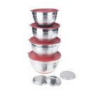 Aspire Stainless Steel Mixing Bowl Set with Lids, Eva Bottom and 3 Graters, Set of 4 Kitchen Favors