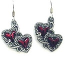 Siskiyou Buckle ER079 Dangle Earrings - Double Hearts