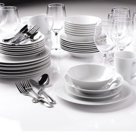 Ten Strawberry Street SAM-80PCRD Entertaining Sets 80 Pc Round, Dinnerware Set