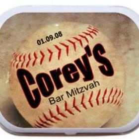 Baseball Theme Bar Mitzvah Mint Tin Party Favor