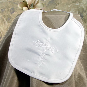 Little Things Mean A Lot 3DPBIBC- Silk Dupioni Bib with Embroidered Cross