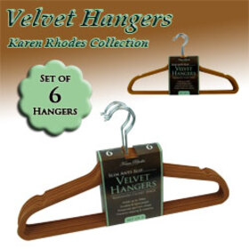 Karen Rhodes Collection - Set Of 6 Velvet Hangers - Camel