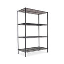 ALERA ALESW504824BL Wire Shelving Starter Kit, Four-Shelf, 48w X 24d X 72h, Black