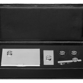 Rich Business Card Case, Money Clip, Cufflinks and Tie Bar Gift Set