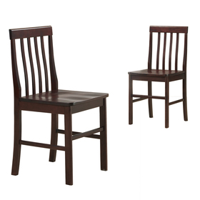 Walker Edison CHWN2ES Solid Wood Dining Chairs - Espresso (Set of 2)