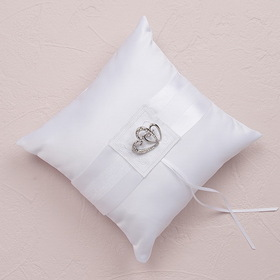 Weddingstar 7199 Classic Double Heart Square Ring Pillow - White