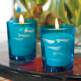 Weddingstar 9045 Carved Glass Fish Tea Light Holder - Tropical Blue, Price/Packags of 8