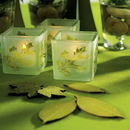 Weddingstar 9047 Deep Sandblasted Glass Leaf Cube Tea Light Holder - Frost and Green