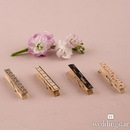 Weddingstar 9625 Vintage Wooden Clothespins with Romantic Black and Pink Pattern