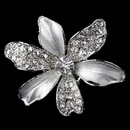 Elegance by Carbonneau Clip-7130-RD-CL Rhodium Clear Rhinestone Flower Hair Clip 7130