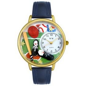 Whimsical Watches Baseball Gold Watch